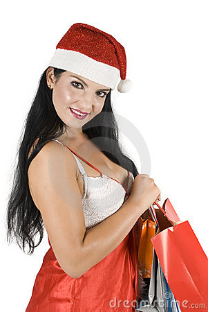 Female Santa Claus posing