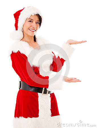 Female Santa displaying something
