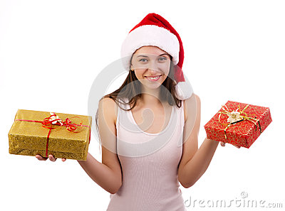 Female Santa with gift boxes.