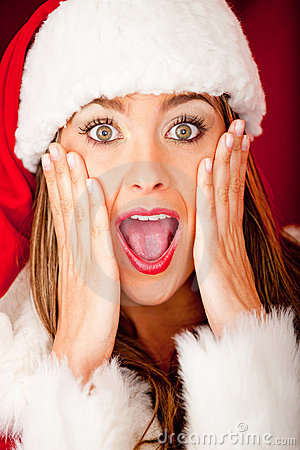 Female Santa looking surprised