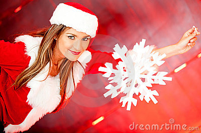 Female Santa with a snowflake