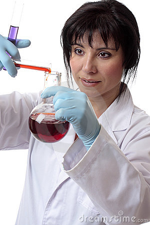 Female scientist chemist at work