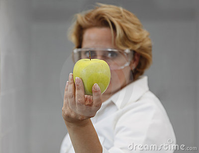 Female Scientist Offering Natural Food