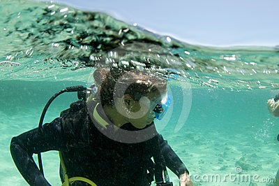 Female scuba diver on the surface