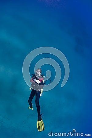 Female scuba swimming on her back