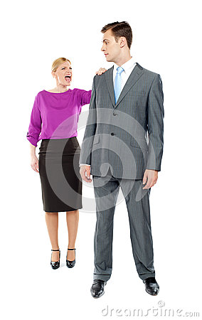 Female secretary shouting on her co-worker