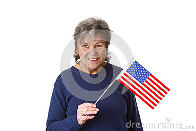 Female senior with amercan flag