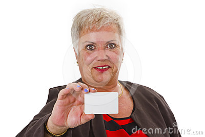 Female senior with business card