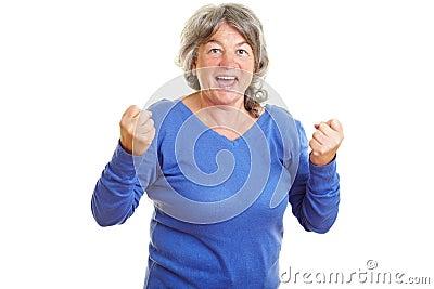 Female senior citizen clenching
