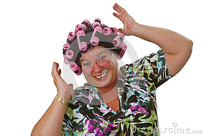 Female senior with funny wig