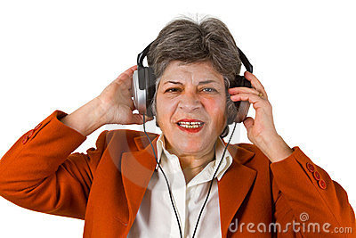 Female senior with headphone