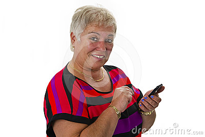 Female senior with her smartphone