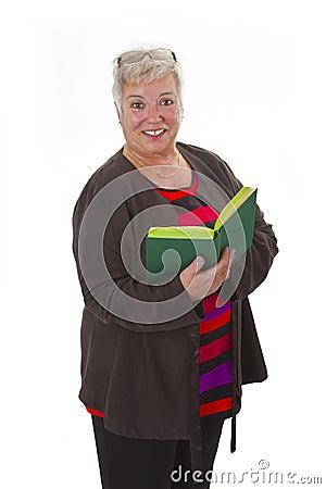 Female senior reading a book