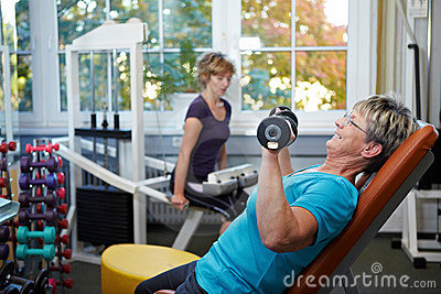 Female senior working out