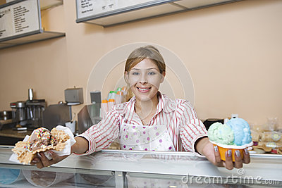 Female Serving Ice Creams