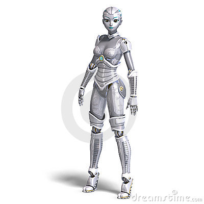 Female sexy metallic robot. 3D rendering with