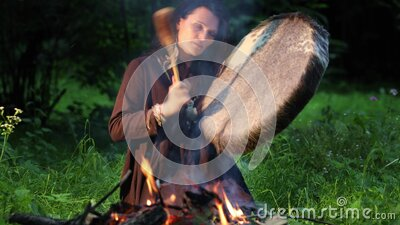 Female shaman in a trance stock video footage