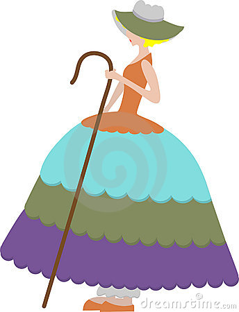 Free Female Sheep Herder In Large Dress Holding Cane Royalty Free Stock Image - 9833996