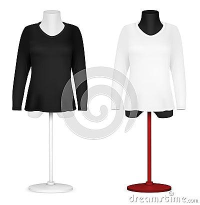 Stock photos long sleeve blank shirt on mannequin torso template