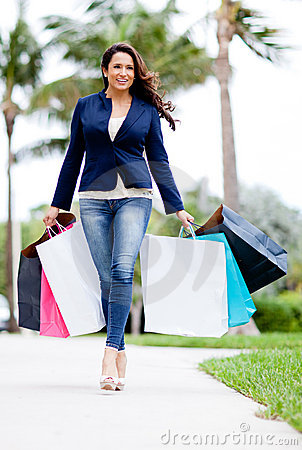 Female shopper with bags