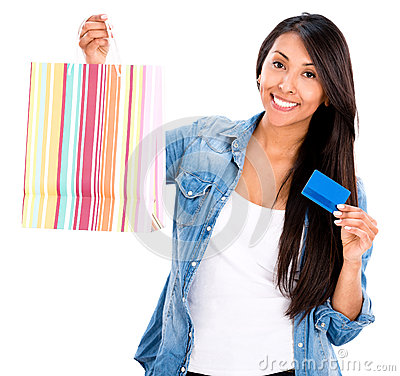 Female shopper with a credit card