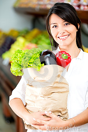 Female shopper with groceries