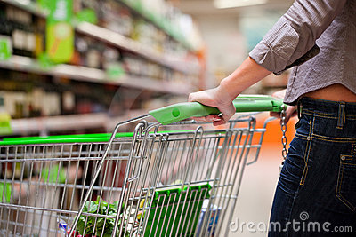 Female Shopper With Trolley at Supermarket