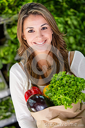 Female Shopping Organic Royalty Free Stock Photography - Image: 28051677