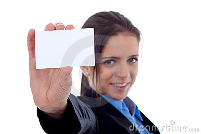 Female showing a blank bussiness card