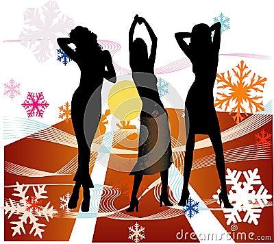 Female silhouettes dancing in a disco
