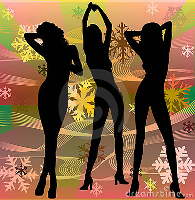 Female silhouettes dancing in a disco