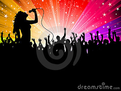 Female singer with crowd