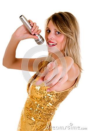 Female singer microphone