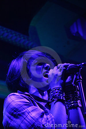 Female singer performing live Editorial Image