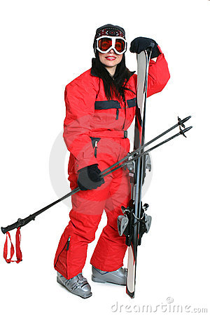 Female skier in red ski suit