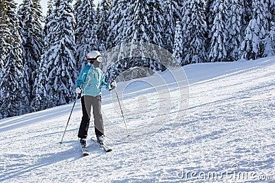 Female Skier on the slope