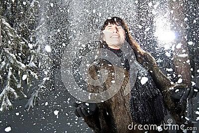 Female in snow