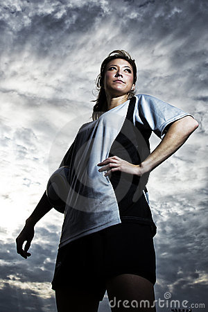 Female Soccer player posed