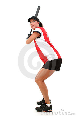 Free Female Softball Player Ready To Bat Stock Image - 182061