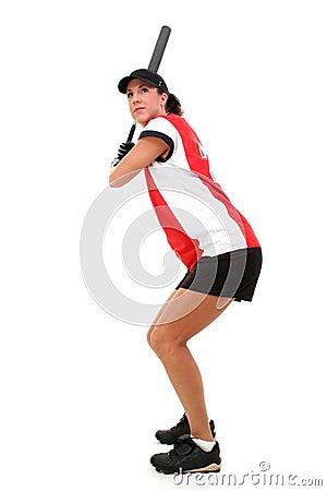 Female Softball Player Ready To Bat