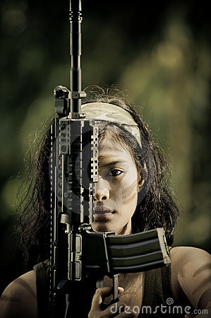 Free Female Soldier Close Up Royalty Free Stock Photos - 6931878