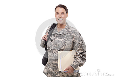 Female soldier with documents and backpack