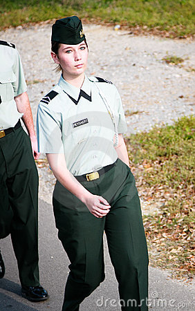 Female Soldier Marching Editorial Stock Photo