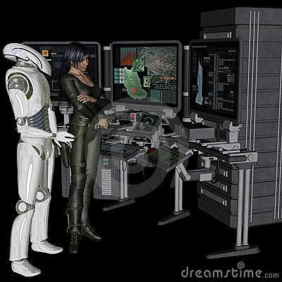 Female soldier and robot