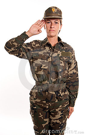 Female soldier salute