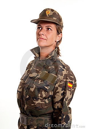 Female soldier standing to attention