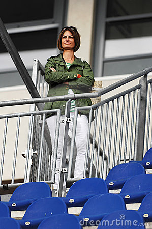 Female spectator at race track