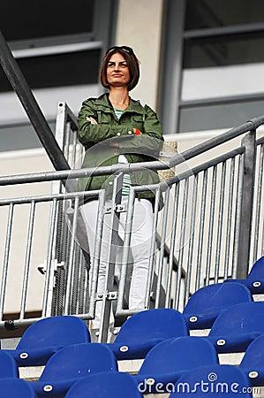 Female spectator at race track