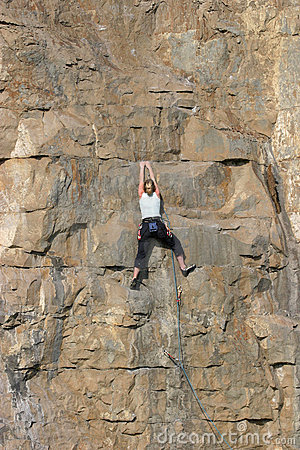 Female Sport Rock Climber