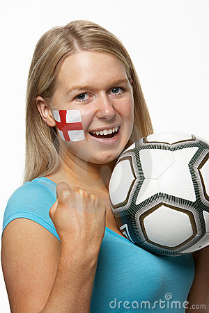 Female Sports Fan With St Georges Flag On Face